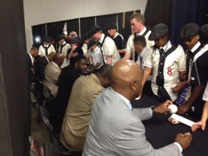 Sacramento legends sign autographs for JMF kids
