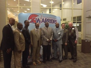 Jerry Manuel and Dusty Baker surrounded by Sacramento greats