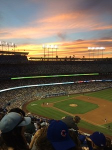 Sunset view of No-Hitter from Dodger Stadium.